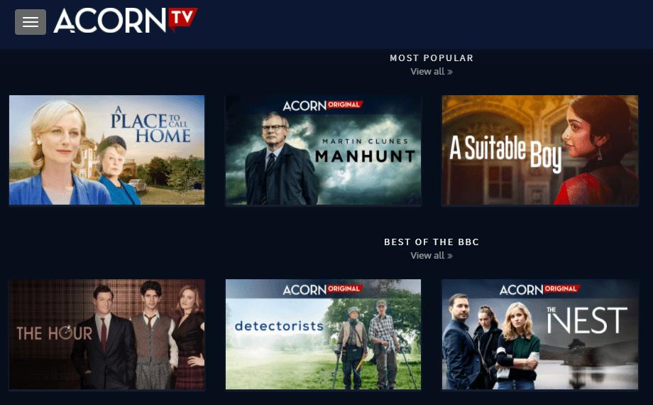 Acorn TV Streaming service