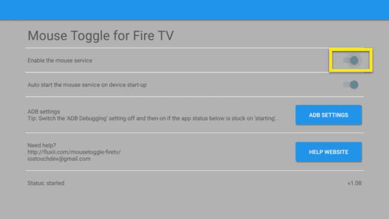 toggle Enable the Mouse service to ON