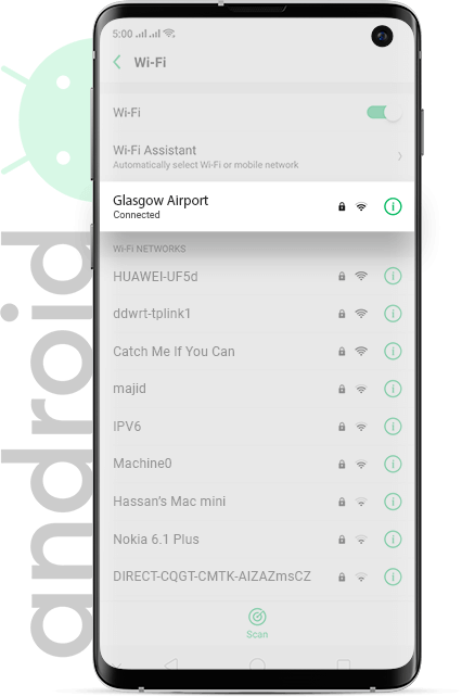 Glasgow Airport wifi Android