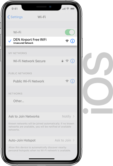 Denver Airport Wifi IOS