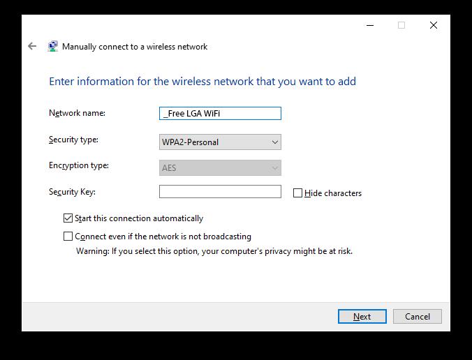 Laguardia wifi Windows