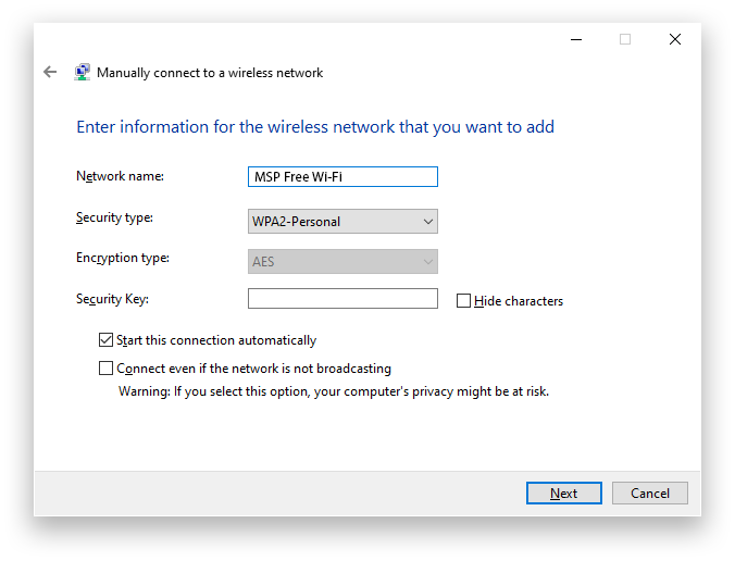 MSP Wifi Windows