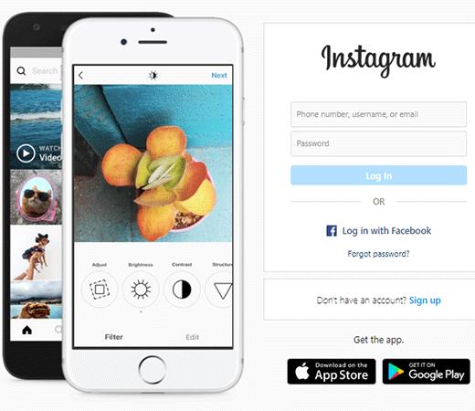 visit Instagram website on your pc