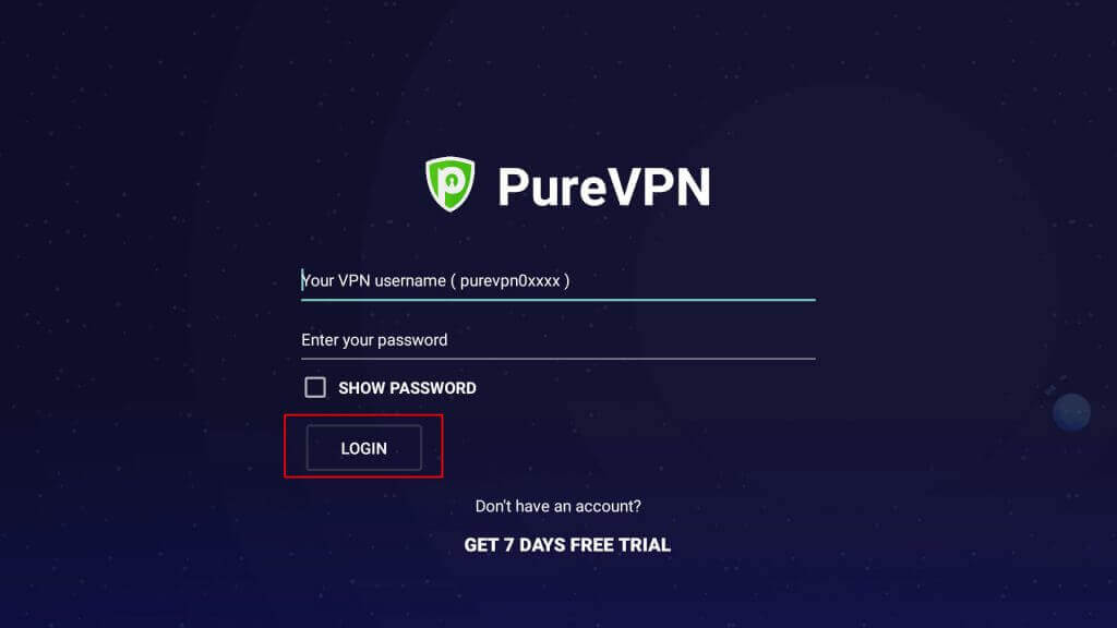 Enter your PureVPN username and password
