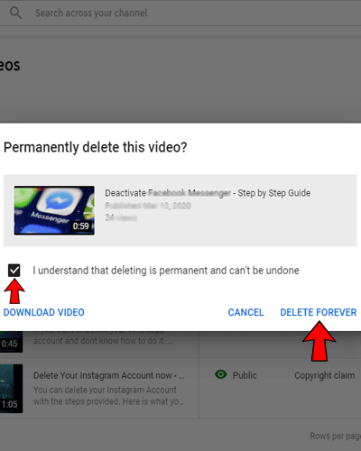 how to delete a youtube video from my channel