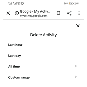 how to clear history on my android phone via time range